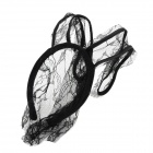 FS090102 Stylish Sexy Lace Veil Rabbit Ear Head Band for Halloween Party - Black