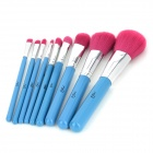 MSQ Professional 9-in-1 Cosmetic Makeup Brushes Set - Blue + Silver + Pink