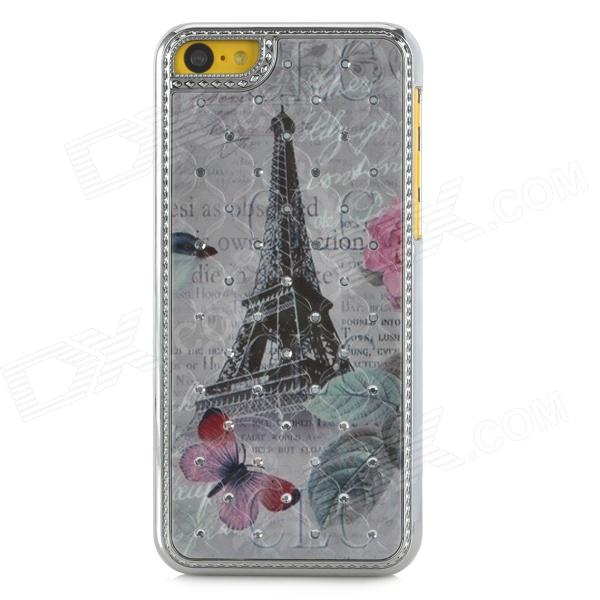 A1 Butterfly + Eiffel Tower Pattern Protective Plastic Back Case for Iphone 5C - Multicolored butterfly bling diamond case
