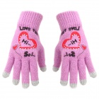 Stylish Patterned Knitted Wool Capacitive Screen Touching Hand Warmer Glove - Purple + Gray + Red