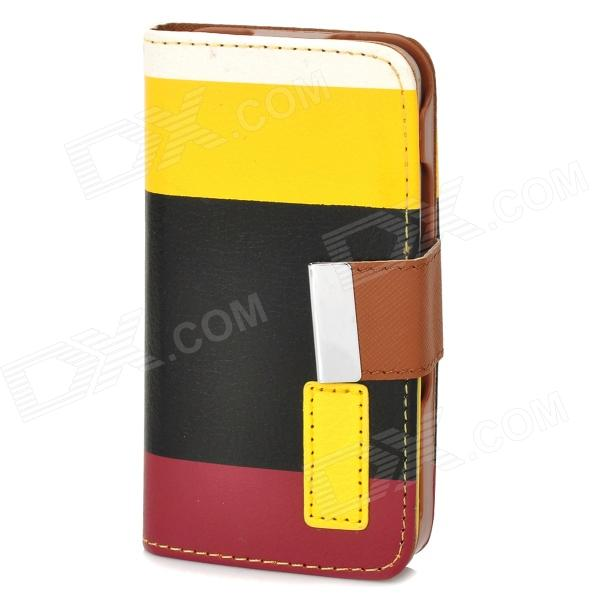 ZEA*-CHSJG-002 PU Leather Case w/ Card Slot / Holder / Hand Strap for Iphone 4 / 4S - Multicolored circle pattern protective pu leather case w strap for iphone 4 5 4s red