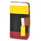 ZEA*-CHSJG-002 PU Leather Case w/ Card Slot / Holder / Hand Strap for Iphone 4 / 4S - Multicolored