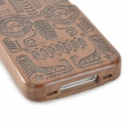 Totem Pattern Protective Wooden Back Case for Iphone 4 / 4S - Brown + Black