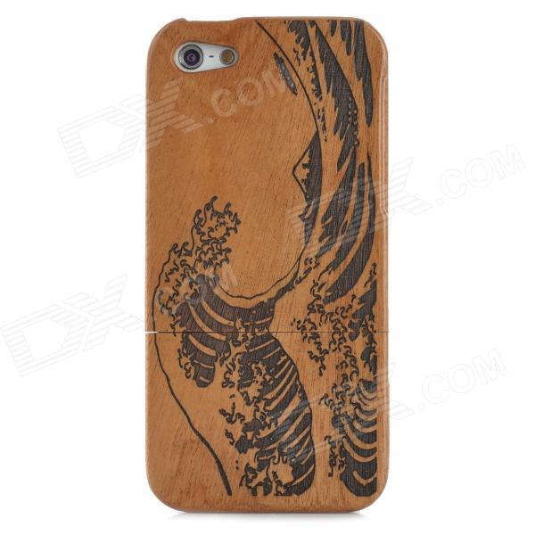 Protective Separated Type Wood Back Case for Iphone 5 - Brown + Black