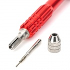 Portable 5-in-1 Stainless Steel Magnetic Screwdriver w/ Replacement Screws - Red + Silver