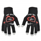 Stylish Patterned Knitted Wool Capacitive Screen Touching Hand Warmer Glove - Black + Gray + Red