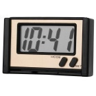"BK-608 2"" LCD High Light LED Digital Car Clock w/ Holder - Black + Silver (1 x 389A)"