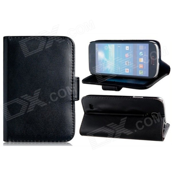 Wallet Style Protective PU Leather Case Stand w/ Card Slots for Samsung Galaxy S4 Mini i9190 - Black