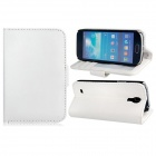 Wallet Style Protective PU Leather Case Stand w/ Card Slots for Samsung Galaxy S4 Mini i9190 - White