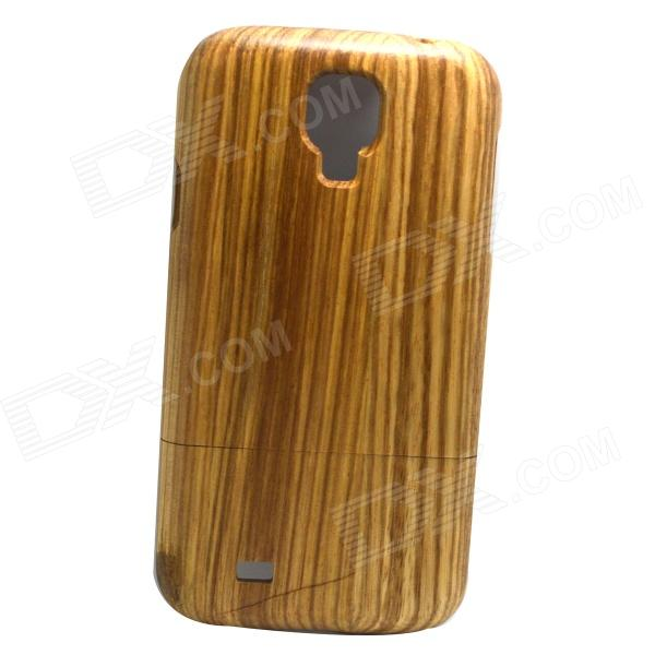 Detachable Wooden Black + White Pattern Back Case for Samsung Galaxy S4 i9500 - Brown + Black