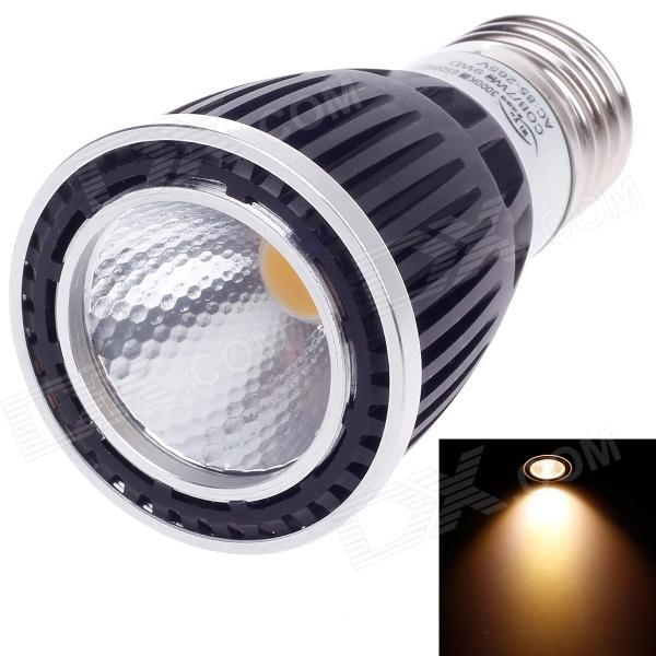 ZIYU ZY-0812-007 E27 7W 560lm 3000K COB LED Warm White Light Lamp Bulb - Black + White (85~265V) ziyu zy 0814 005 7w 1200lm 470nm 120 led blue light decorative lamp strip white 12m 220 240v