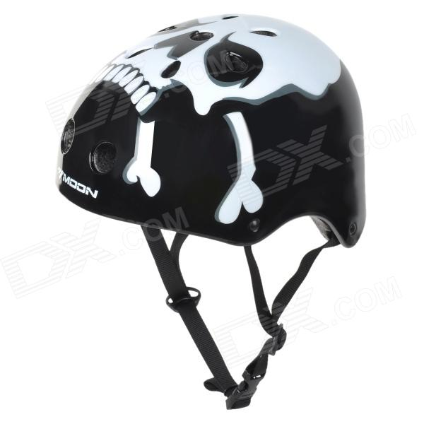 MOON MTV12 Skull Pattern Multifunction Outdoor Sports Protection Helmet - White + Black (Size L) fire maple sw28888 outdoor tactical motorcycling wild game abs helmet khaki