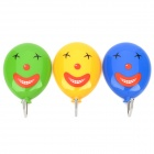 Clown Smiling Face Style Removable Hooks - Yellow / Green / Blue (3 PCS)