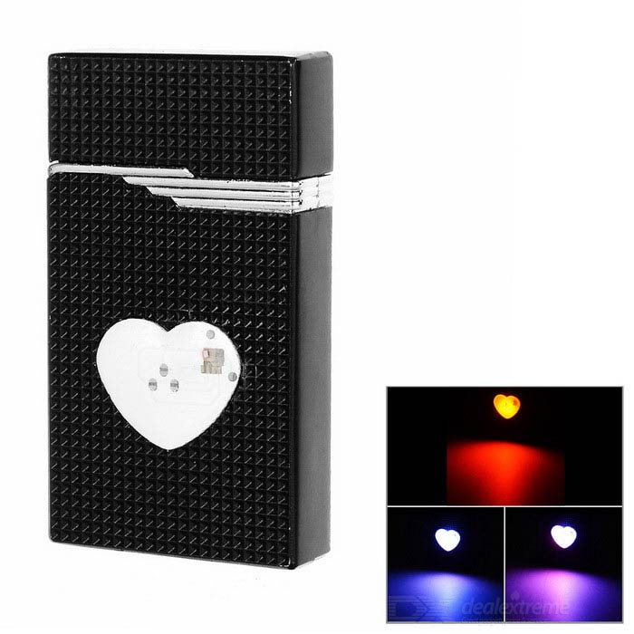 Heart Style Colorful LED Blue Flame Windproof Butane Gas Lighter - Black + Silver creative camera shape windproof green flame butane gas lighter w colorful flashing light black
