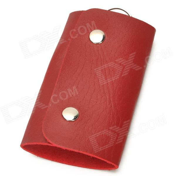 Snap Button PU Leather Key Bag - Red + Silver