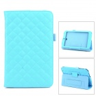 Checked Style Protective PU Leather Case for Asus ME173X - Blue