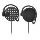 PUQINUO PQN-888 Stylish Ear Hook Headphones - Black + Grey (3.5mm Plug / 1.1m)
