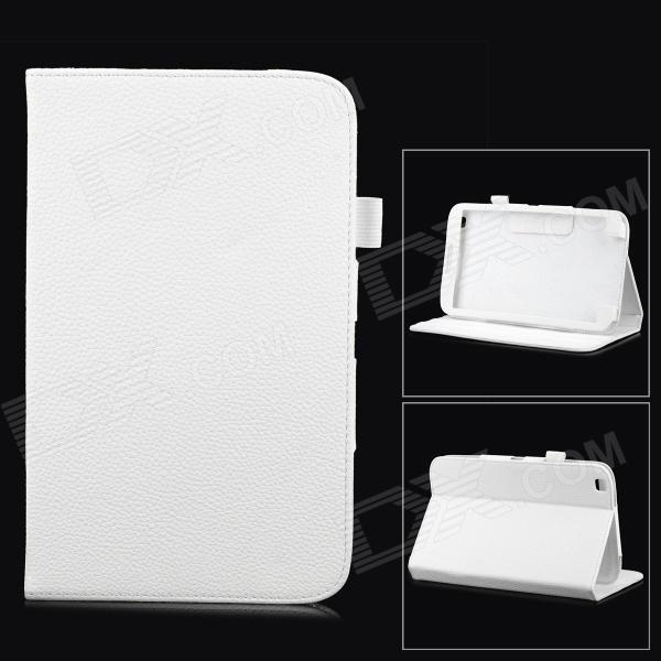 Lychee Grain Style Protective PU Leather Case for Samsung Galaxy Tab 3 T310 / T311 - White bk 310 bluetooth v3 0 ultra thin 59 key keyboard for samsung tab 3 t310 t311