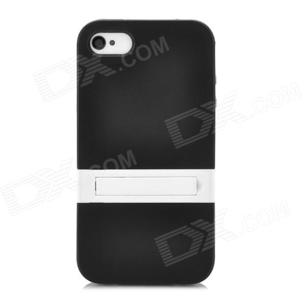 Protective TPU Back Case w/ Flip Stand for Iphone 4 / 4S - Black + White stylish bubble pattern protective silicone abs back case front frame case for iphone 4 4s