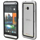 Simple Classic Plastic Bumper Frame Case for HTC One - Black + Transparent