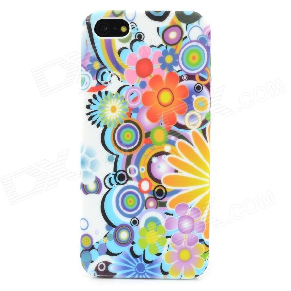 Flower Graffiti Style Protective TPU Back Case for Iphone 5 - Blue + Purple + Orange + Yellow protective pc tpu back case for iphone 5 w anti dust cover lavender purple