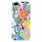 Flower Graffiti Style Protective TPU Back Case for Iphone 5 - Blue + Purple + Orange + Yellow