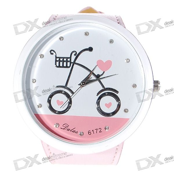 Bicycle Pattern Diamante Charm Big Ladies Quartz Wrist Watch (Pink Strap)