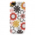 Flower Graffiti Style Protective TPU Back Case for Iphone 5 - Red + Yellow + Brown + White