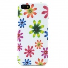 Flower Graffiti Style Protective TPU Back Case for Iphone 5 - White + Green + Purple + Blue