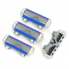 DORCO FRA1040 Replacement 4-blade Razor Head for Manual Shaver - Gray + Blue (4 PCS)