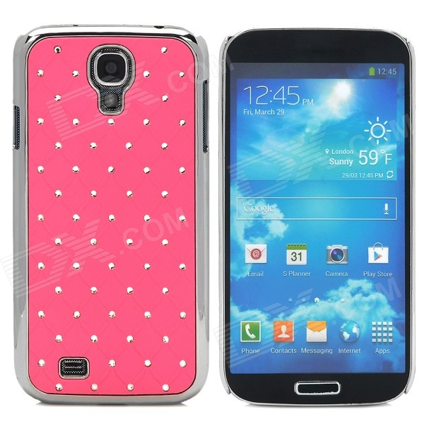 ATS868 Stylish Shiny Crystal Inlaid ABS + Electroplated Metal Back Case for Samsung S4 - Pink stylish crystal inlaid protective plastic back case for samsung s4 i9500 blueish green gray