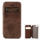Stylish Protective PU Leather Case w/ Display Window for Iphone 5C - Brown
