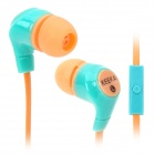 MIC-105 In-Ear Earphones w/ Mic for Iphone / Samsung - Orange + Blue (3.5mm Plug / 110cm-cable)