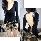 BT1-01 Skin Tight Silk Cotton V-Neck Backless Long Sleeve Shirt for Women - Black (Free Size)