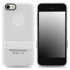 Protective TPU Back Case w/ Flip Stand / Hole for Iphone 5 - Transparent White