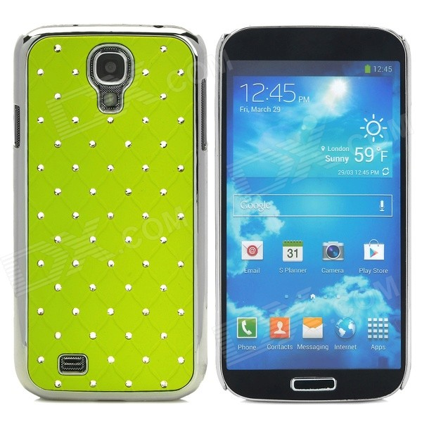 ATS868 Stylish Shiny Crystal Inlaid ABS + Electroplated Metal Back Case for Samsung S4 - Green stylish crystal inlaid protective plastic back case for samsung s4 i9500 blueish green gray