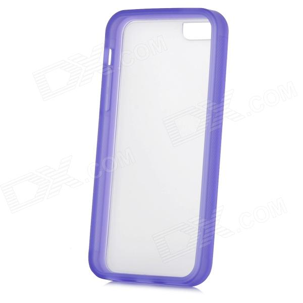 TEMEI Protective Plastic + TPU Back Case for Iphone 5C - Blue Purple + Translucent White glossy tpu gel back protection case for iphone 7 plus light purple