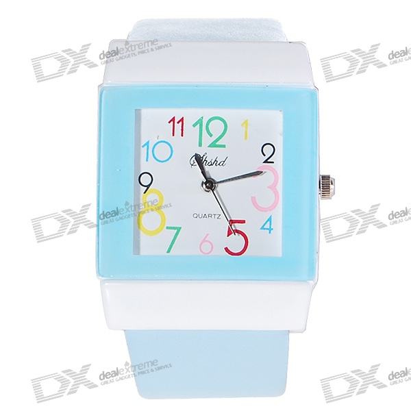Cartoon Font Square Lady Quartz Wrist Watch (Blue Strap)