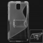 "Stylish ""S"" Pattern Flexible Plastic Back Case w/ Holder for Samsung Galaxy Note 3 - Gray"
