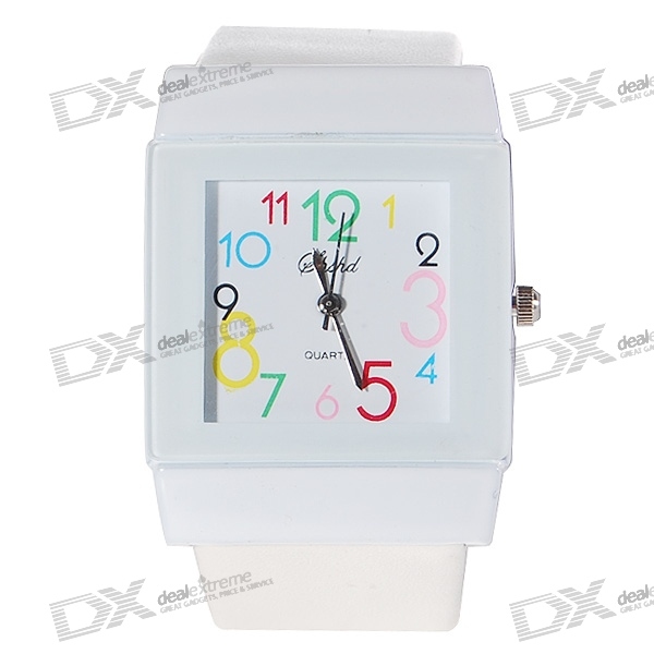 Cartoon Font Square Lady Wrist Watch (White Strap)