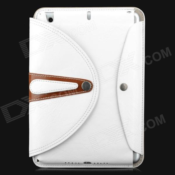 360 Degree Rotation Protective PU Leather Case Cover Stand w/ Auto Sleep for Ipad MINI - White