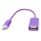Micro USB Male to USB Female OTG Cable for Samsung / HTC / Xiaomi / Sony / Motorola - Purple