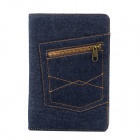 Denim Style Protective PU Leather Case Cover Stand w/ Auto Sleep / Zipper Bag for iPad Mini - Blue
