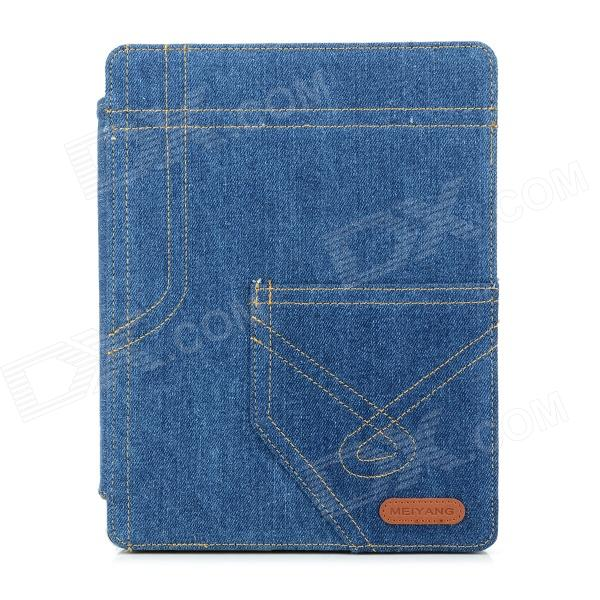 Protective Denim Case Cover Stand w/ Auto Sleep for Ipad 3 - Blue jisoncase luxury smart case for ipad 4 3 2 cover magnetic stand leather auto wake up sleep cover for ipad