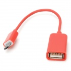Micro USB Male to USB Female OTG Cable for Samsung / HTC / Xiaomi / Sony / Motorola - Red