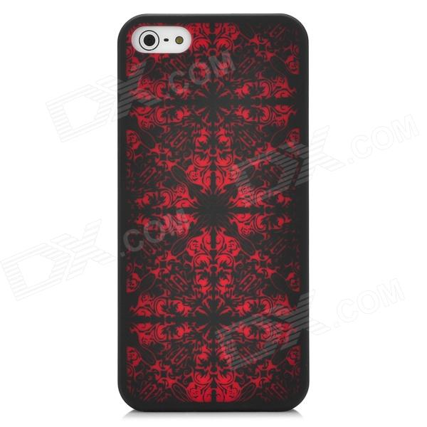 Laser Etching Flower Pattern Protective PC Back Case for Iphone 5 - Black + Red elegance tpu pc hybrid back case with kickstand for iphone 7 plus 5 5 inch red