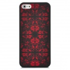 Laser Etching Flower Pattern Protective PC Back Case for Iphone 5 - Black + Red