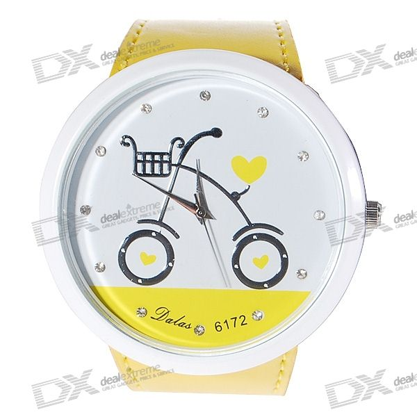 Bicycle Pattern Diamante Charm Big Ladies Wrist Watch (Yellow Strap)