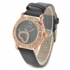 Round Dial Zinc Alloy Fall PU-Band Quarz Analog Armbanduhr für Damen - Schwarz + Golden (1 x AG4)