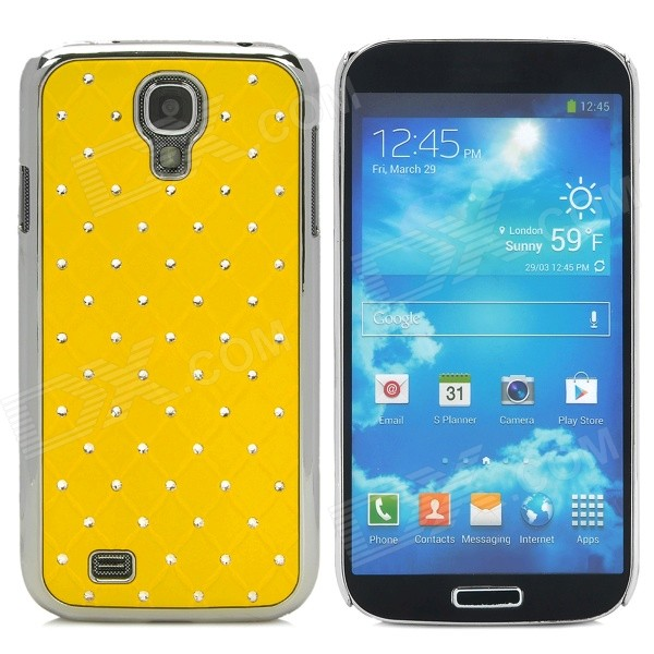 ATS868 Stylish Shiny Crystal Inlaid ABS + Electroplated Metal Back Case for Samsung S4 - Yellow stylish crystal inlaid protective plastic back case for samsung s4 i9500 blueish green gray